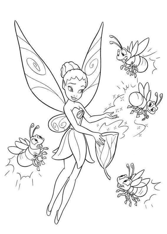 Download Or Print Tinkerbell And Four Firefly Coloring Page For Free Plus Other Related You Can Also Do Online