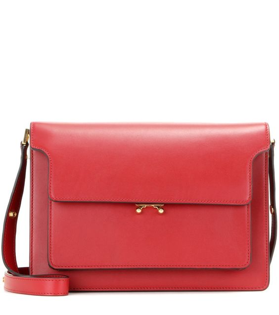Marni - Trunk leather shoulder bag - Clean cut, Marni's 'Trunk' leather shoulder bag will carry you seamlessly through the season and beyond. Deceptively roomy, it boasts two zipped compartments and four internal compartments, plus a neutrally hued twill lining. The adjustable strap means it can also be carried across the body for those errand-running off-duty days. seen @ www.mytheresa.com