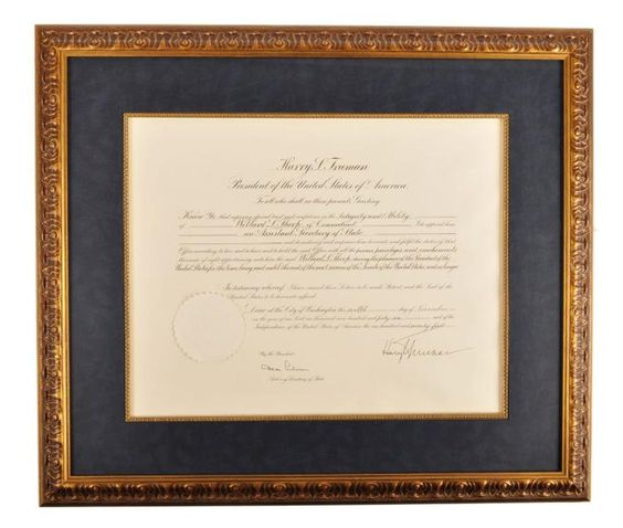 Harry S. Truman, Dean Acheson - Signed State Department Document - 1946 - Framed