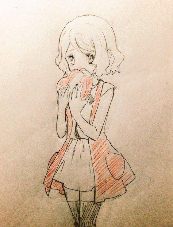 Dessin saintvalentin par piccapuu au crayondecouleur - Fille manga a dessiner ...