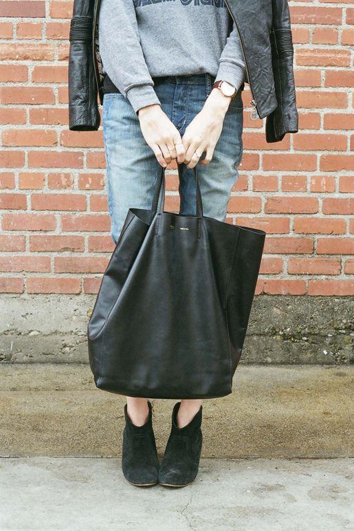 Celine Cabas Gusset Beige Black Leather Tote