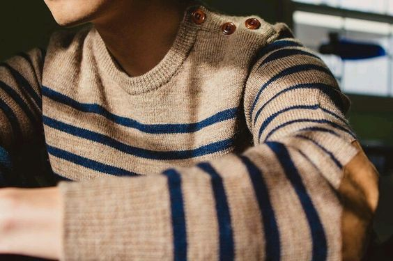 Comfy everyday sweater with stripes and elbow patches