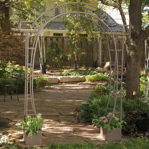 Jeweled Metal Arch Arbor with Planters