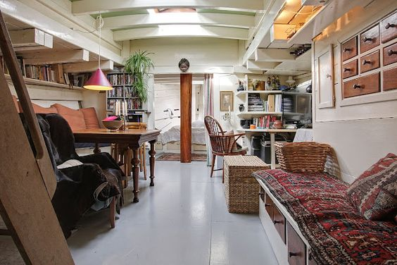 bohemian narrowboat interior design houseboat