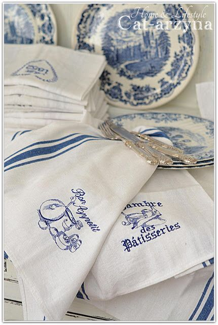 Pretty blue and white dishes and towels by Cat-arzyna