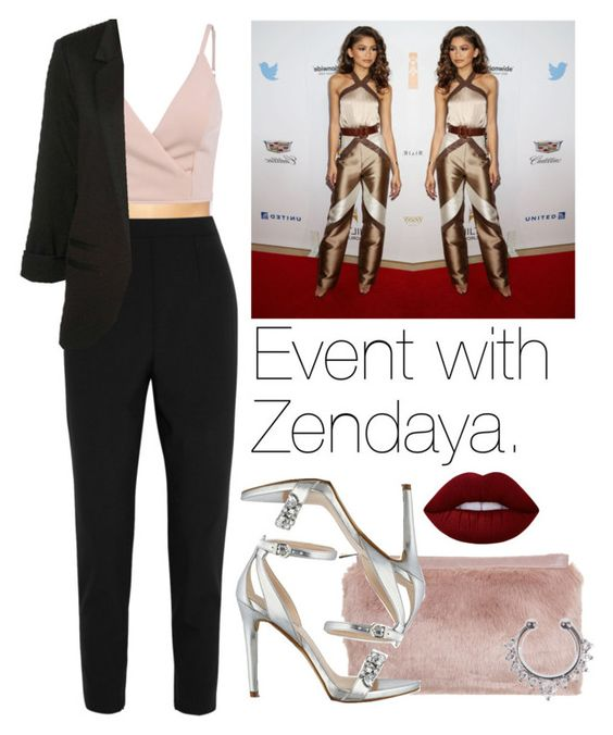 """""""Event with Zendaya."""" by fireproofnarry ❤ liked on Polyvore featuring Marie Meili, Miss Selfridge, Dolce&Gabbana, GUESS, Lime Crime and zendaya"""