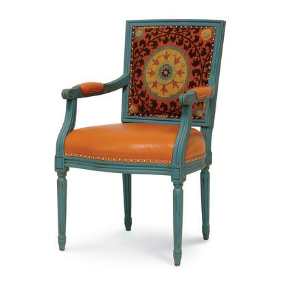 LYON SQUARE BACK ARM CHAIR, ORANGE MEDALLION by PALECEK: