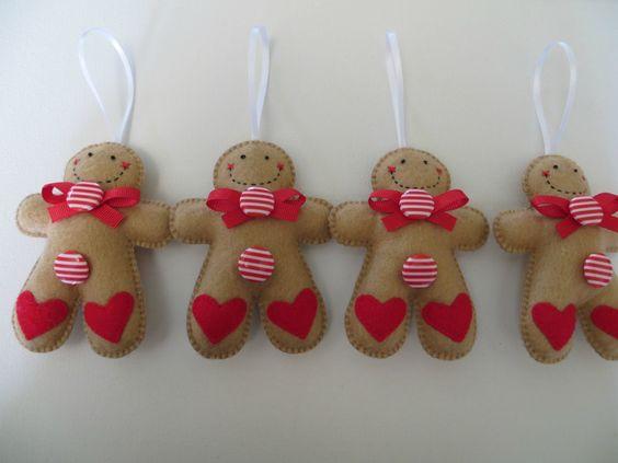 felt ornaments | Small Felt Peppermint Gingerbread Man Ornament | Felt