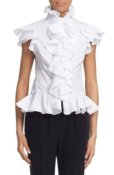 Alexander McQueen Cotton Poplin Ruffle Blouse available at #Nordstrom