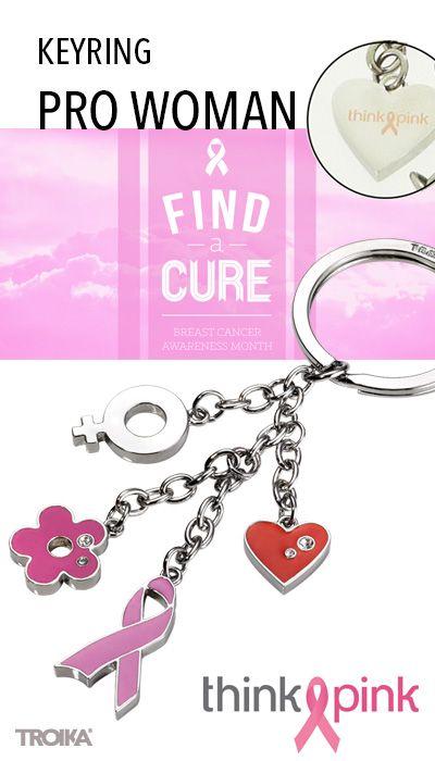 TROIKA PRO WOMAN - THINK PINK engraving. Breast cancer theme keyring with 4 charms, made with SWAROVSKI® ELEMENTS *** Schlüsselanhänger zum Thema Brustkrebs, mit 4 Anhängern