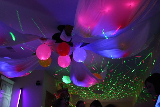 Canopy Of Balloons From Ceiling Fan Neon Party Party Time Birthday Parties
