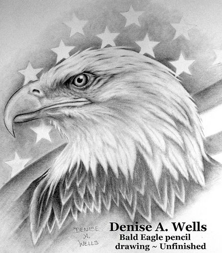 Bald Eagle and Americal Flag tattoo design by Denise A. Wells
