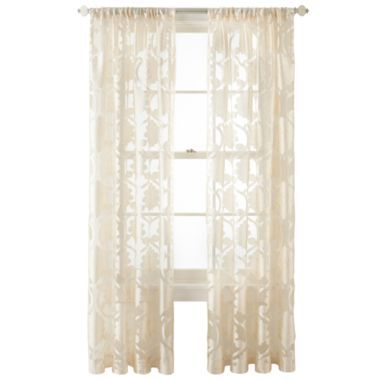 Sheer Curtains beige sheer curtains : Royal Velvet® Belgravia Rod-Pocket Sheer Curtain Panel | Royals ...