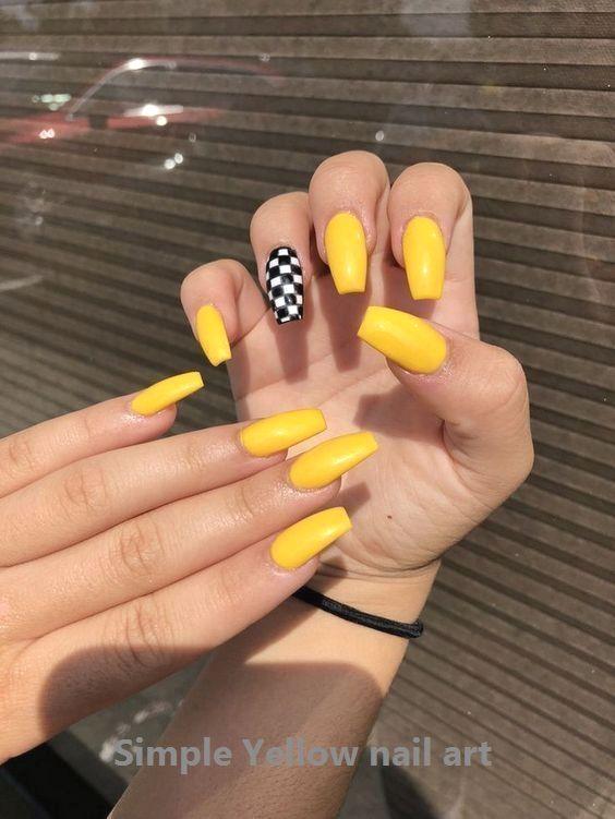 23 Great Yellow Nail Art Designs 2020 Yellownailart In 2020 Yellow Nails Design Yellow Nail Art Summer Acrylic Nails