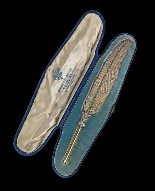 Formed as a quill, encrusted with seed pearls and emeralds, this extraordinary pen was presented on 13th June, 1867 to Prince Aleksander Gorchakov by the wives of St. Petersburg aristocrats to commemorate the 50th anniversary of his service at the Ministry of Foreign Affairs.: