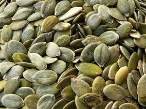 Pumpkin Seeds are one of nature's most nourishing foods. They contain high amounts of vitamin E, B-complex, magnesium, zinc, and omega-3 fatty acids. Pumpkin seeds are essential for men's health and provide significant protection for the prostate gland. They are an excellent source of tryptophan which is critical for good quality sleep and for keeping anxiety and depression at bay.