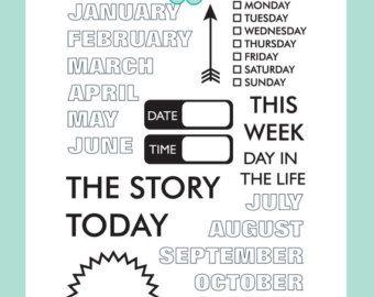 Today Stamp Set by Sarah Hurley - Art Journaling / Scrapbooking / Cardmaking