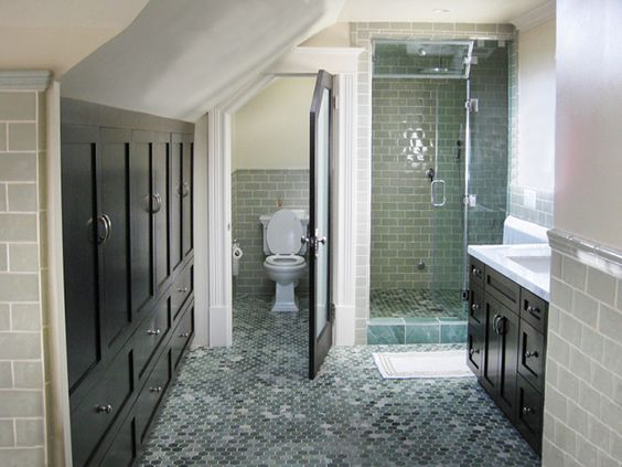 Attic bathroom sloped ceiling google search attic for Find bathroom contractor