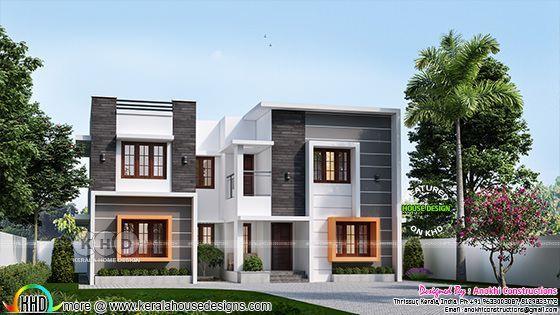 2210 Square Feet 4 Bedroom Box Model Home Flat Roof House Duplex House Design Model Homes