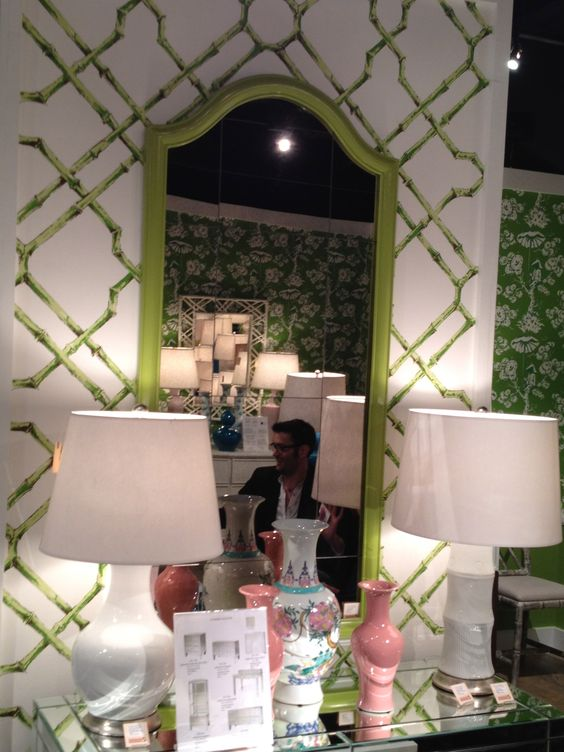 High Point Spring 2012-Fabulous 70's style mirror in Green hanging on another great Meg Braff Wallcovering in the Bungalow 5 Showroom.