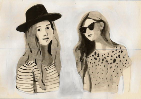 Girls with long hair- original ink drawing on vintage paper