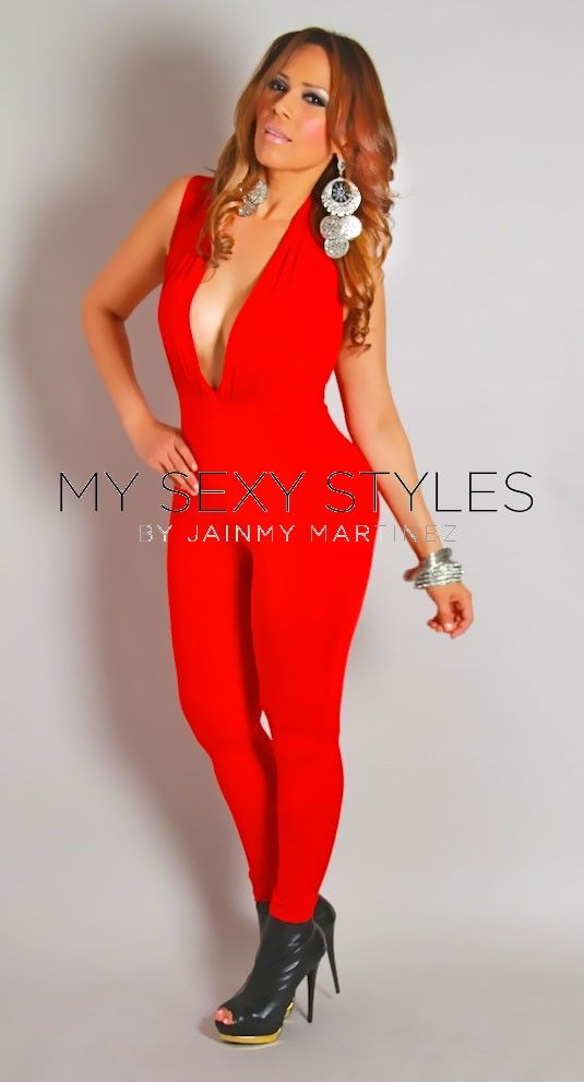 Deep V-Neck Fitted Sexy Jumpsuit in Red | OMG!!!! hot two piece ...