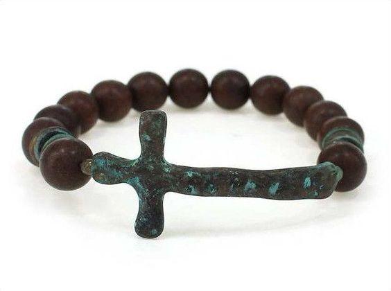 Stretch Chunky Semi Precious Beads Hammered Patina Cross Brown