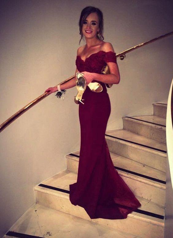 Mermaid Burgundy Off-the-Shoulder Sweep Train Lace Prom/Evening Dress,Chiffon…