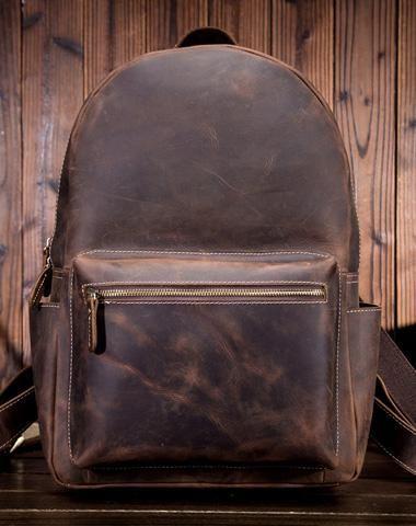 5037218f5c0e Cool Leather Mens Backpack Large Vintage Travel Bag for Men ...