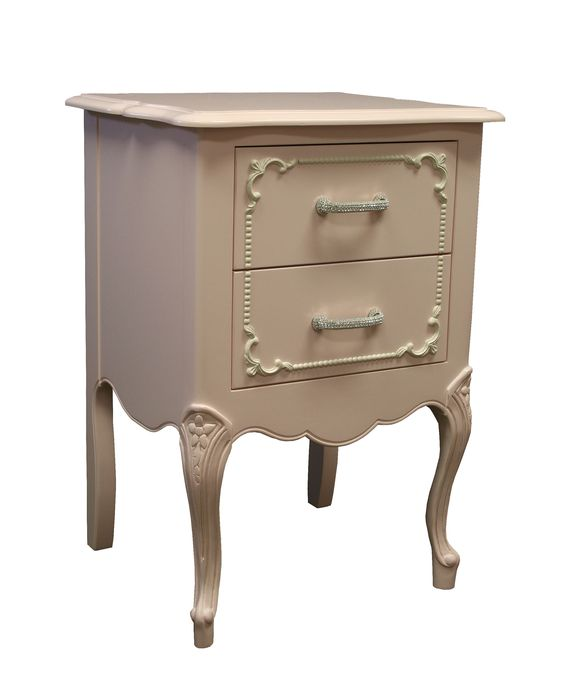 Country French Nightstand Brilliant Rhinestone Round Handles. www.countrycottageusa.com