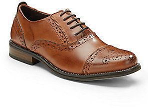 $54, Brown Leather Brogues: Steve Madden Eddee Leather Brogues. Sold by Off 5th. Click for more info: https://lookastic.com/men/shop_items/295482/redirect