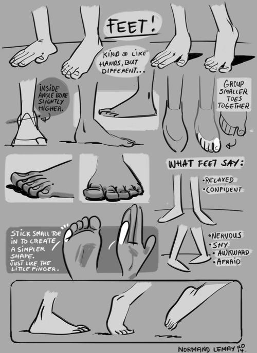Tuesday Tips SUPER WEEK - FeetI don't often have to draw bare feet, unless I'm doing Life Drawing. When storyboarding, the focus is generally not on the feet. They also are usually covered (shoes, socks), or just not shown on screen that much. Nonetheless, it's important to understand their functionality and general appeal. Keep details to a minimum, unless the character uses its bare feet to grasp things or do things with them most humans don't. The best example of ...: