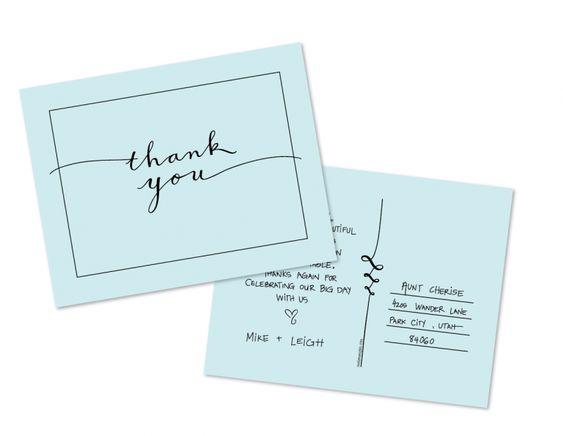 Free printable Thank You postcard Adorable idea printables – Free Wedding Thank You Card Template