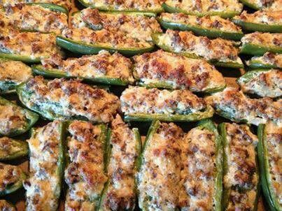 Stuffed Jalapeños  Ingredients: 1 lb ground sausage (HOT if ya like! ) 22 jalapeños 1- 8 oz block cream cheese, softened 1 cup grated Parmesan cheese  Directions: Preheat over 425. Cook sausage until browned. Set aside. Mix cream cheese with Parmesan cheese. Add cooked sausage and mix well. Rinse jalapeños. Cut each jalapeño lengthwise and remove seeds. Stuff jalapeños with sausage mixture. Cook for 20 minutes until tops are golden brown (cook on a large baking pan).