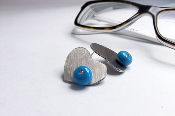 heart stud aluminium earrings with handmade turquoise by amabito, €15.00