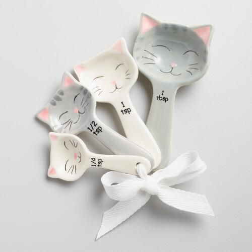 One of my favorite discoveries at WorldMarket.com: Cat Ceramic Measuring Spoons: