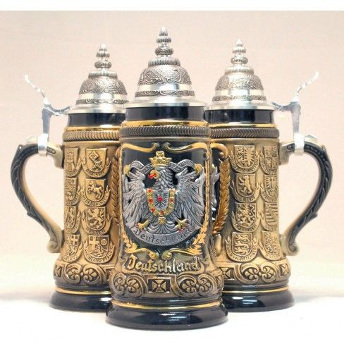 Zoeller & Born Rustic Deutschland Germany Pewter Eagle State Crests LE German Beer Stein .25 L $118.99