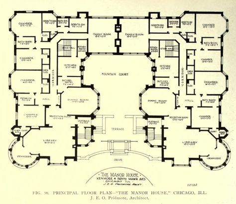 Floor Plan Of The Manor House Chicago Mansion Floor Plan House Blueprints Cottage Floor Plans