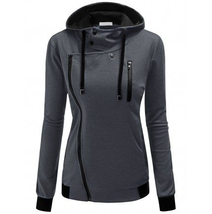 Doublju Women's Asymmetric Zipper Front High Neck Zip-up Hoodie ...