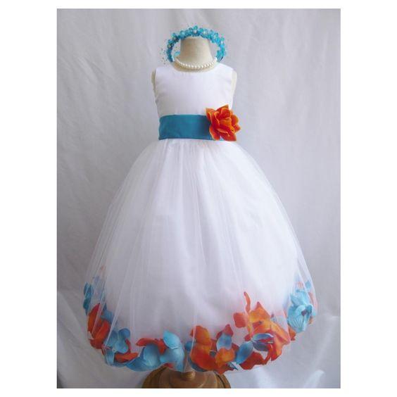 Rose Petal Dress Combination Orange and Turquoise (Custom Colors)