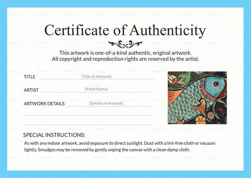 Certificates Of Authenticity For Artists Artsy Shark Helping Artists Build Business Art Certificate Certificate Templates Certificate Design Template
