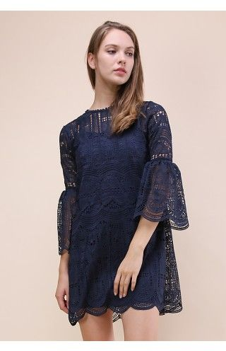 Echo of Exquisiteness Crochet Dress in Navy - Dress - Retro, Indie and Unique Fashion