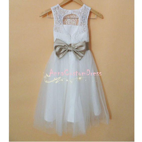 Ivory Lace Flower Girl Dress White Country by AnnaCustomDress, $69.00