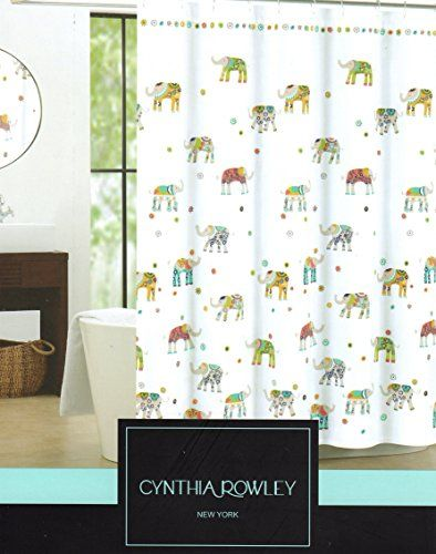 Green Curtains amazon green curtains : Cynthia Rowley Indian Elephant Fabric Shower Curtain 72-Inch by 72 ...
