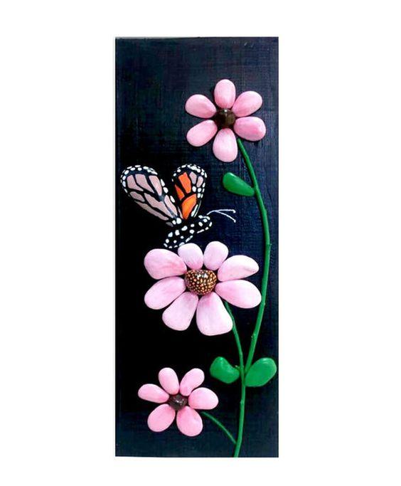 Butterfly and Flowers Handpainted Stones Pebble by StefArtStone