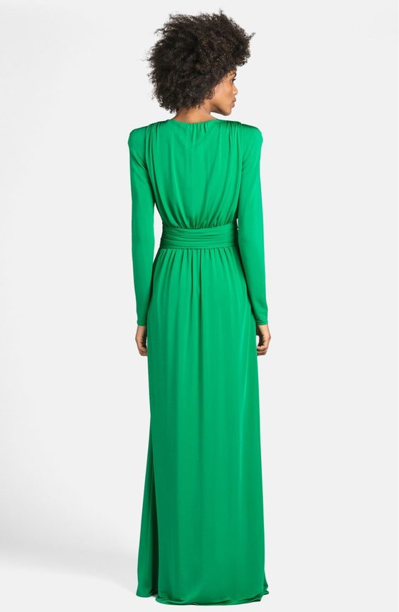 Free shipping and returns on Emilio Pucci Deep V-Neck Jersey Gown at Nordstrom.com. Strong shoulders heighten the retro appeal of a jewel-hued jersey gown designed with a thigh-high slit that rises to meet the plunging V-neckline. Golden hardware illuminates the wrapped waist, drawing the eye to the narrowest part of the figure.