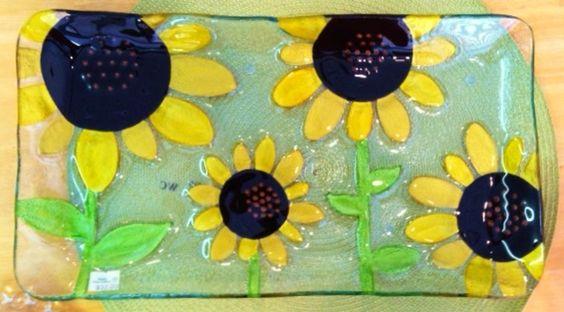 Sunflower Fused Glass Rectangular Platter