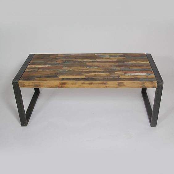 Table basse industrielle bois color et m tal petit mod le for Table en bois et banc