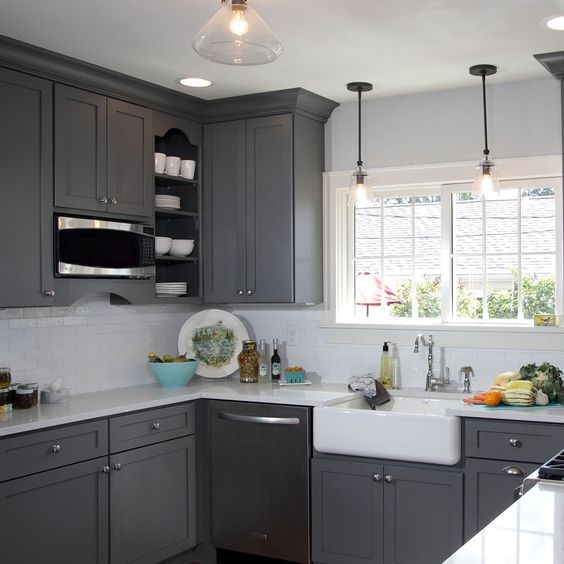 Gray Painted Kitchen Cupboards: This Gorgeous Light French Gray SW 0055 Kitchen Has Us