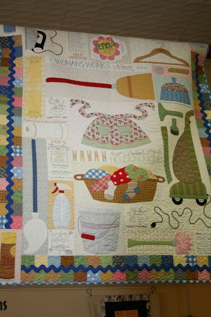 Lori Holt Trunk Show...gosh I never thought about putting a quilt in my laundry room, but this would be a winner, and I'd see it every day!